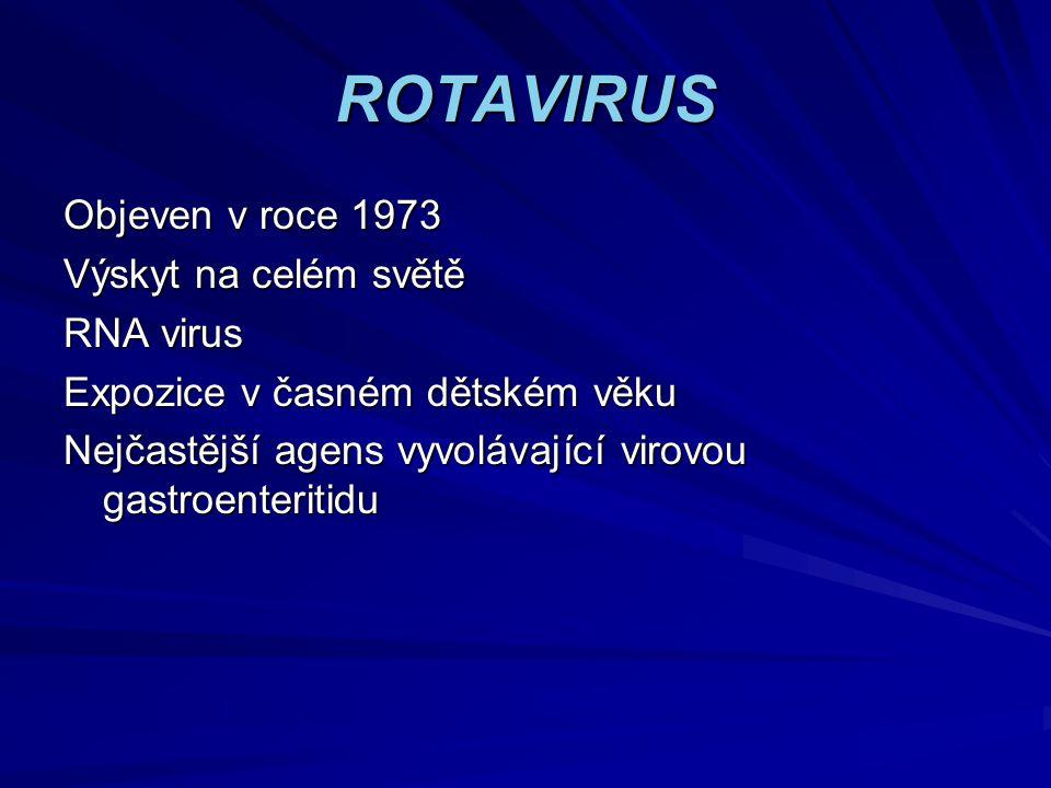 ROTAVIRUS Objeven v roce 1973 Výskyt na celém světě RNA virus