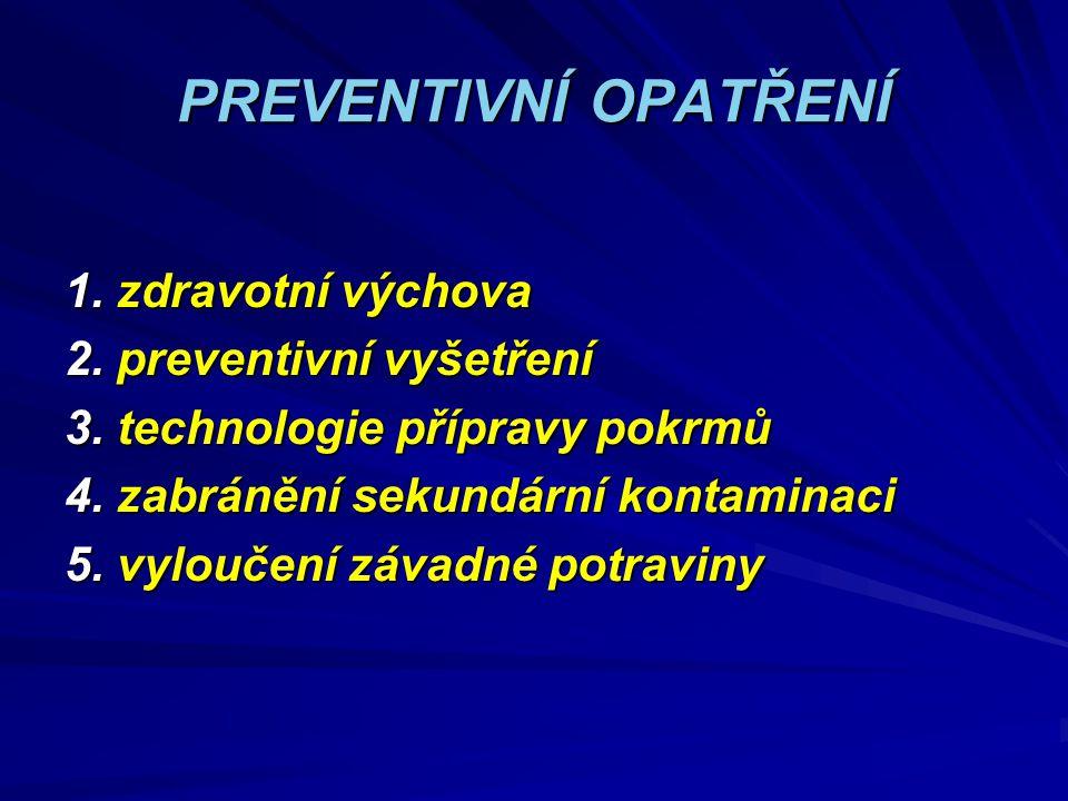 PREVENTIVNÍ OPATŘENÍ 1. zdravotní výchova 2. preventivní vyšetření