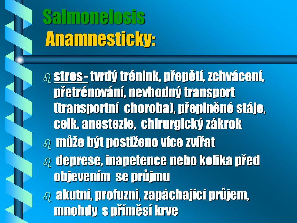 Salmonelosis Anamnesticky: