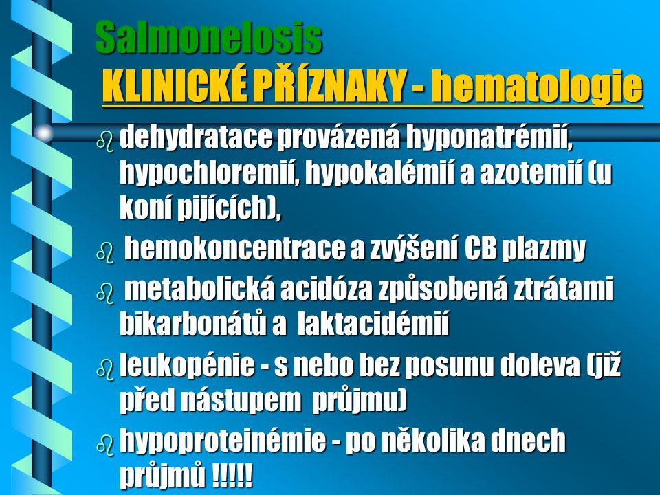 Salmonelosis KLINICKÉ PŘÍZNAKY - hematologie