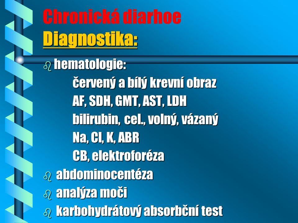 Chronická diarhoe Diagnostika: