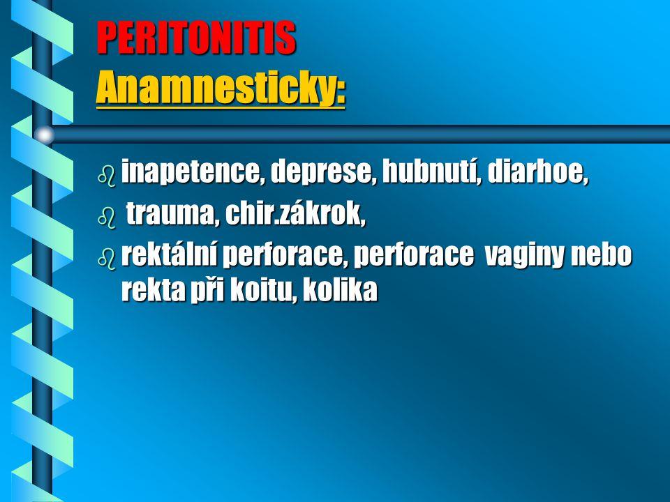 PERITONITIS Anamnesticky: