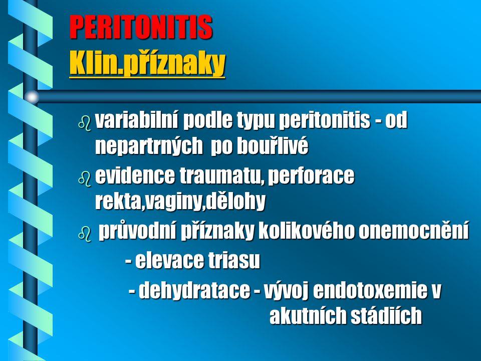 PERITONITIS Klin.příznaky