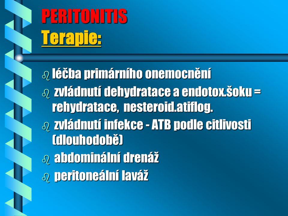 PERITONITIS Terapie: léčba primárního onemocnění