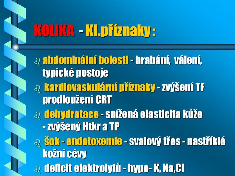 KOLIKA - Kl.příznaky : abdominální bolesti - hrabání, válení, typické postoje. kardiovaskulární příznaky - zvýšení TF prodloužení CRT.
