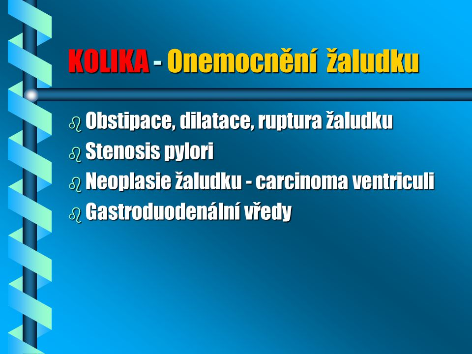 KOLIKA - Onemocnění žaludku