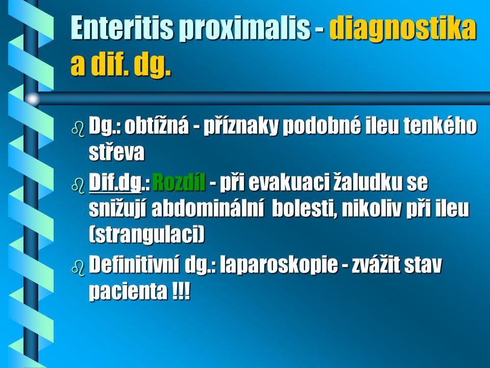 Enteritis proximalis - diagnostika a dif. dg.