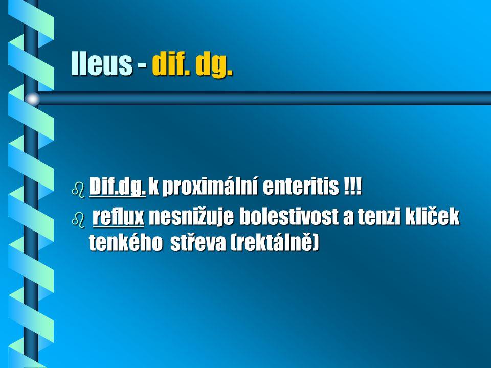 Ileus - dif. dg. Dif.dg. k proximální enteritis !!!