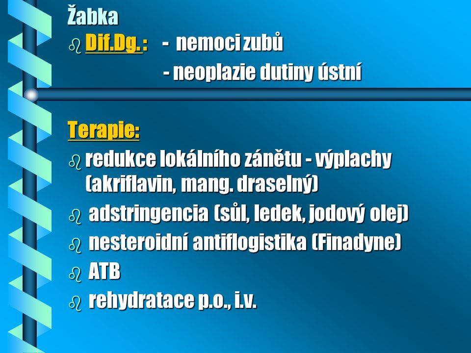 Žabka Dif.Dg. : - nemoci zubů. - neoplazie dutiny ústní. Terapie: redukce lokálního zánětu - výplachy (akriflavin, mang. draselný)