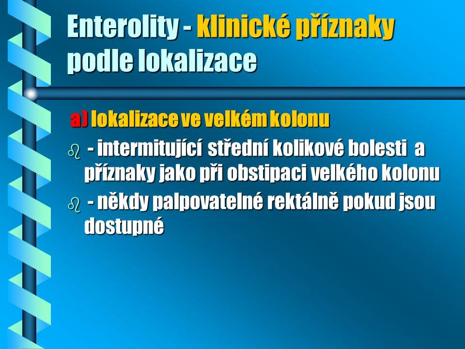 Enterolity - klinické příznaky podle lokalizace