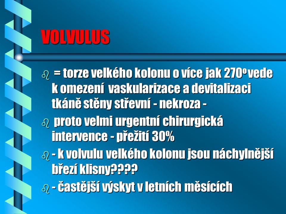 VOLVULUS = torze velkého kolonu o více jak 270o vede k omezení vaskularizace a devitalizaci tkáně stěny střevní - nekroza -
