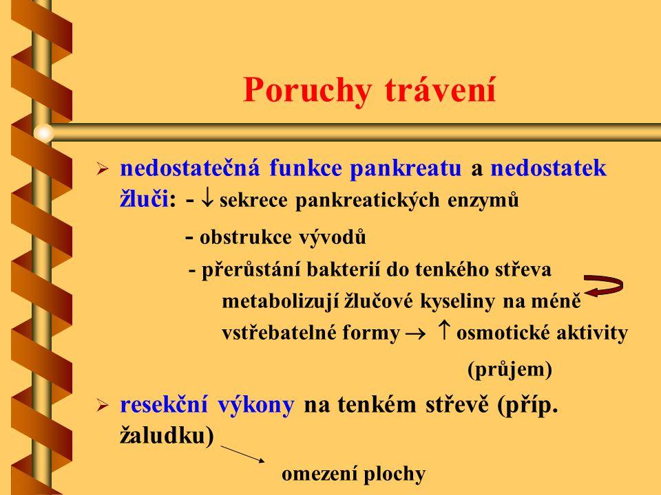 Poruchy trávení nedostatečná funkce pankreatu a nedostatek žluči: -  sekrece pankreatických enzymů.