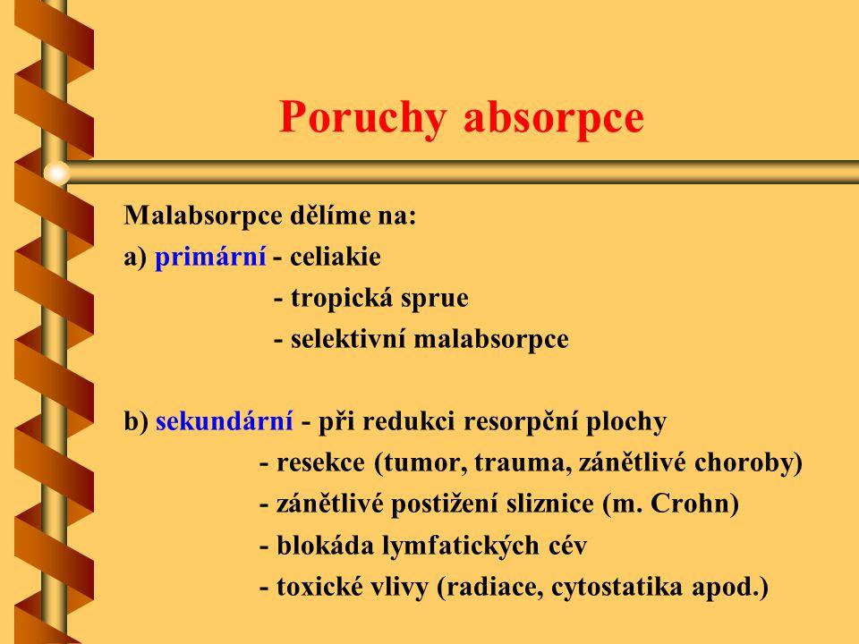 Poruchy absorpce Malabsorpce dělíme na: a) primární - celiakie