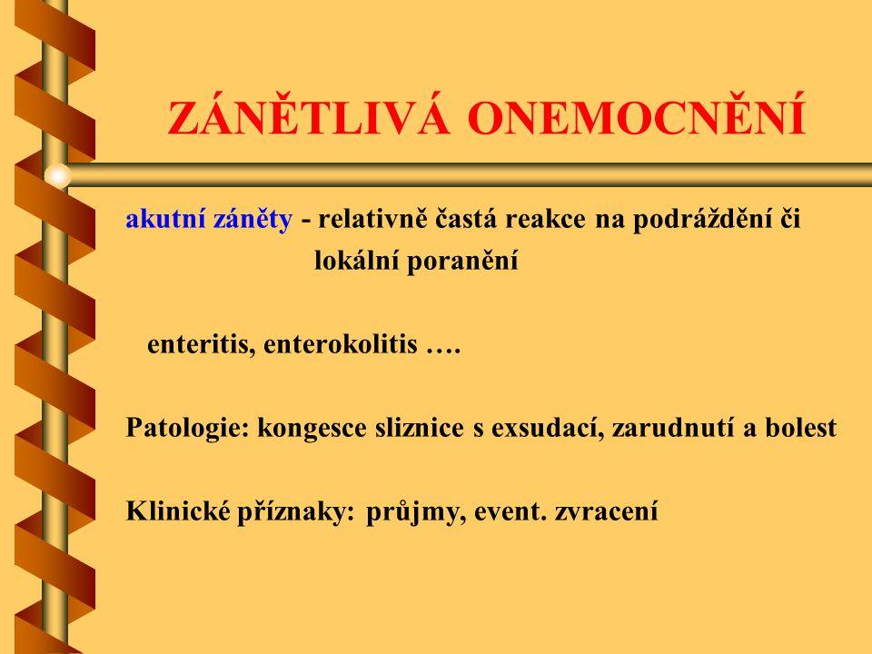 ZÁNĚTLIVÁ ONEMOCNĚNÍ akutní záněty - relativně častá reakce na podráždění či. lokální poranění. enteritis, enterokolitis ….