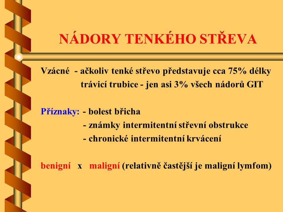 NÁDORY TENKÉHO STŘEVA Vzácné - ačkoliv tenké střevo představuje cca 75% délky. trávicí trubice - jen asi 3% všech nádorů GIT.