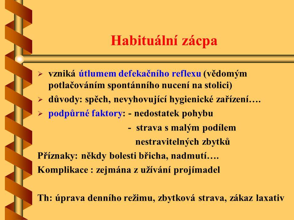 Habituální zácpa vzniká útlumem defekačního reflexu (vědomým potlačováním spontánního nucení na stolici)