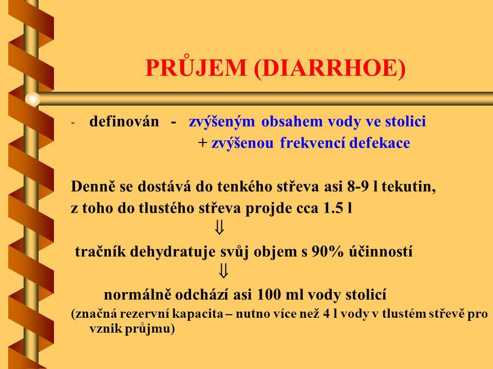 PRŮJEM (DIARRHOE) definován - zvýšeným obsahem vody ve stolici