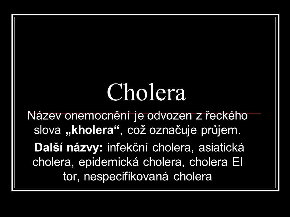 """Cholera Název onemocnění je odvozen z řeckého slova """"kholera , což označuje průjem."""