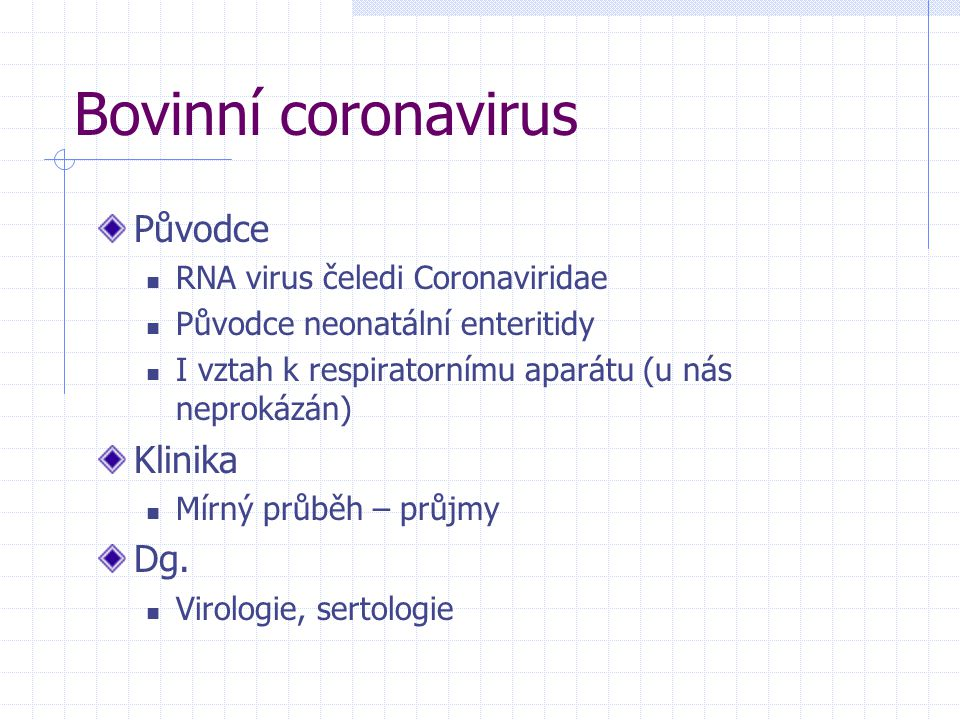 Bovinní coronavirus Původce Klinika Dg. RNA virus čeledi Coronaviridae