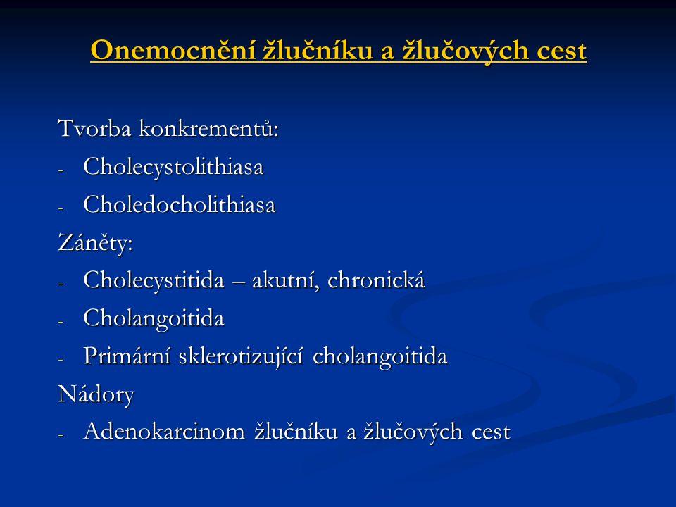 Onemocnění žlučníku a žlučových cest