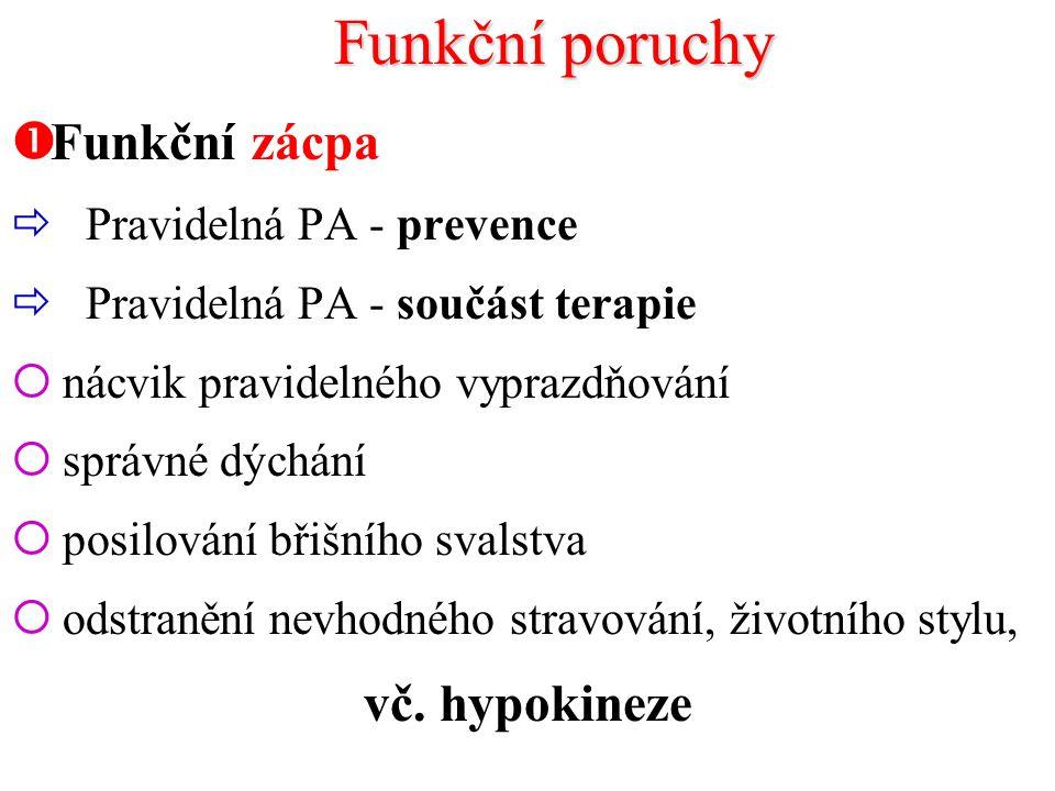 Funkční poruchy Funkční zácpa vč. hypokineze Pravidelná PA - prevence
