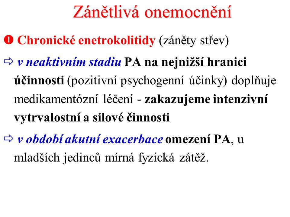 Zánětlivá onemocnění Chronické enetrokolitidy (záněty střev)