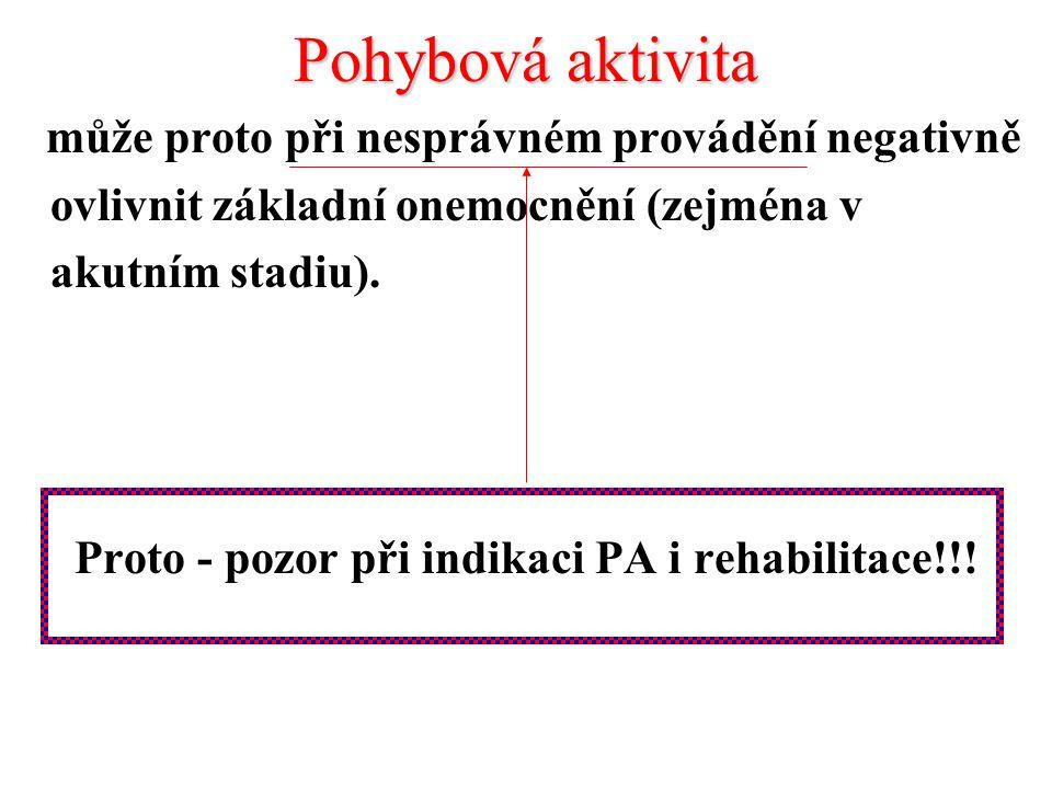 Proto - pozor při indikaci PA i rehabilitace!!!