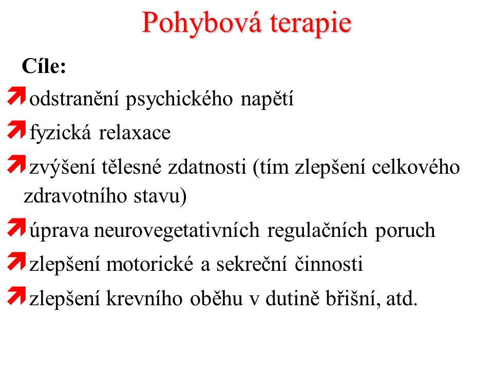 Pohybová terapie Cíle: odstranění psychického napětí fyzická relaxace