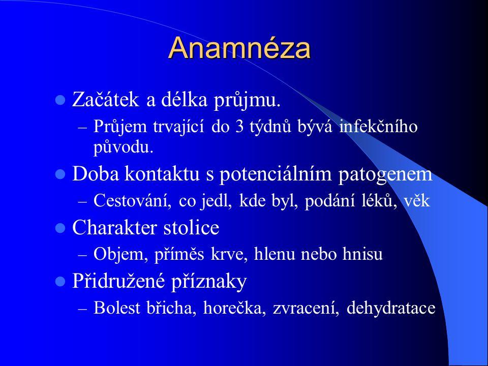 Anamnéza Začátek a délka průjmu.
