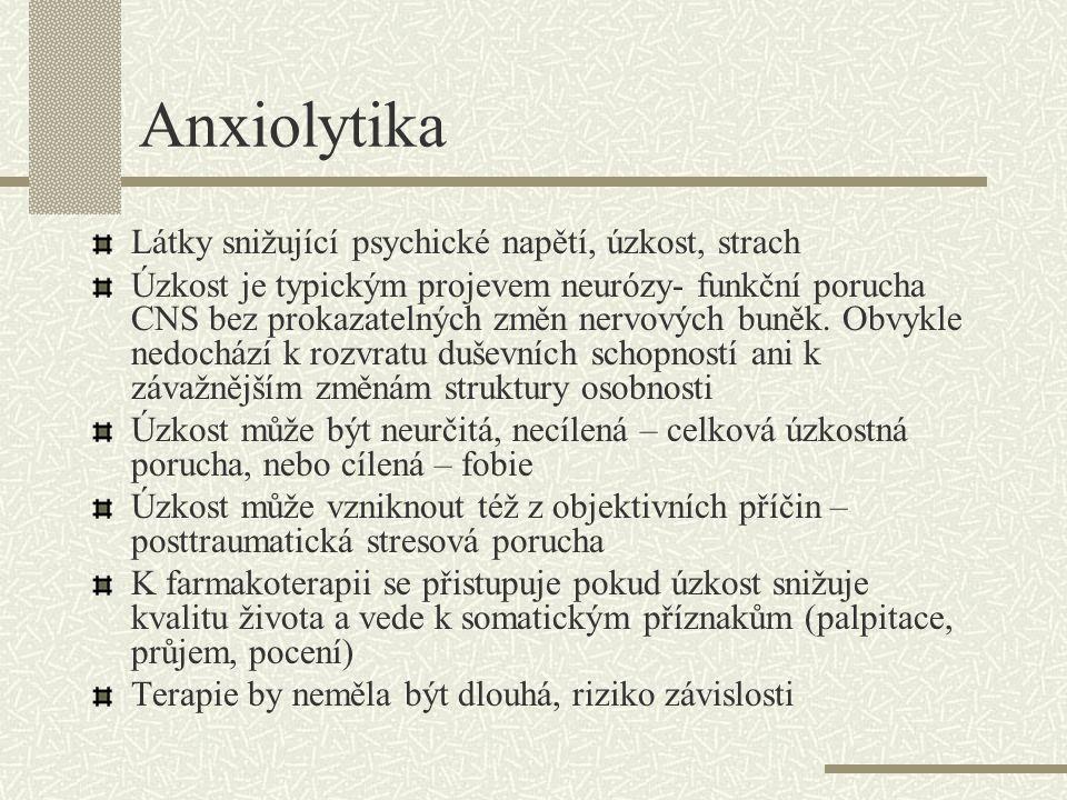 Anxiolytika Látky snižující psychické napětí, úzkost, strach