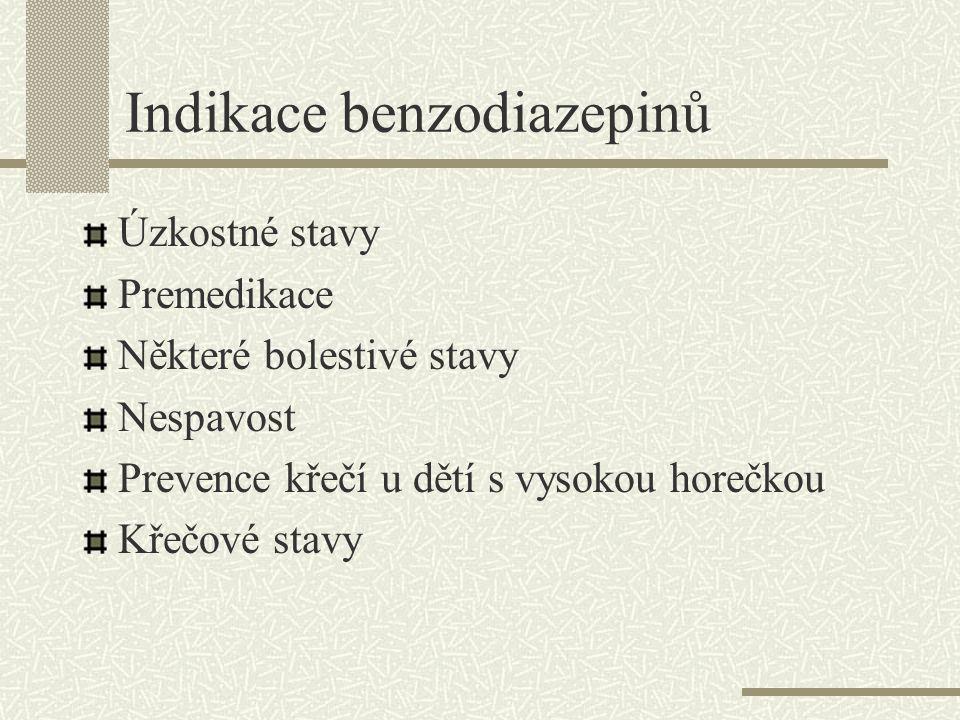 Indikace benzodiazepinů