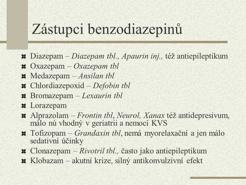 Zástupci benzodiazepinů