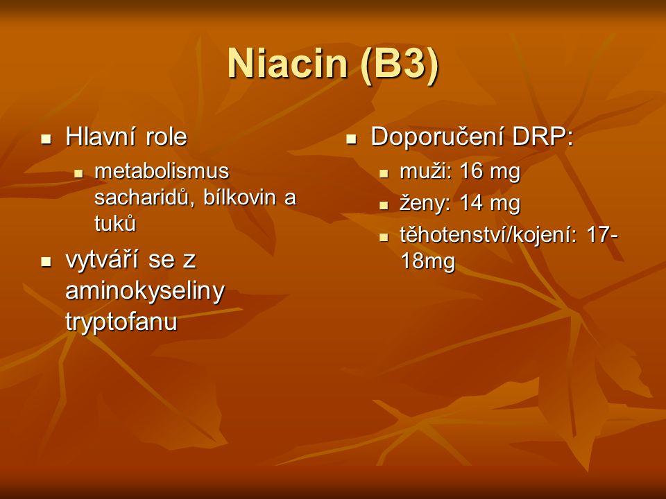Niacin (B3) Hlavní role vytváří se z aminokyseliny tryptofanu