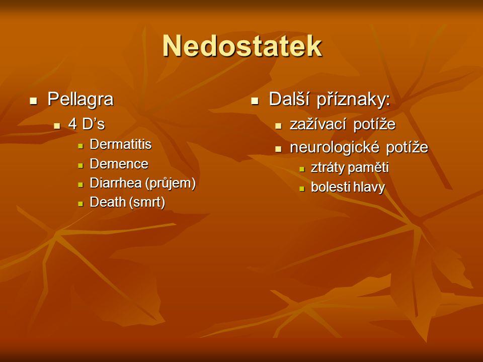 Nedostatek Pellagra Další příznaky: 4 D's zažívací potíže