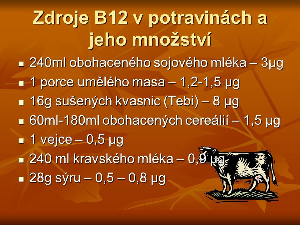 Zdroje B12 v potravinách a jeho množství