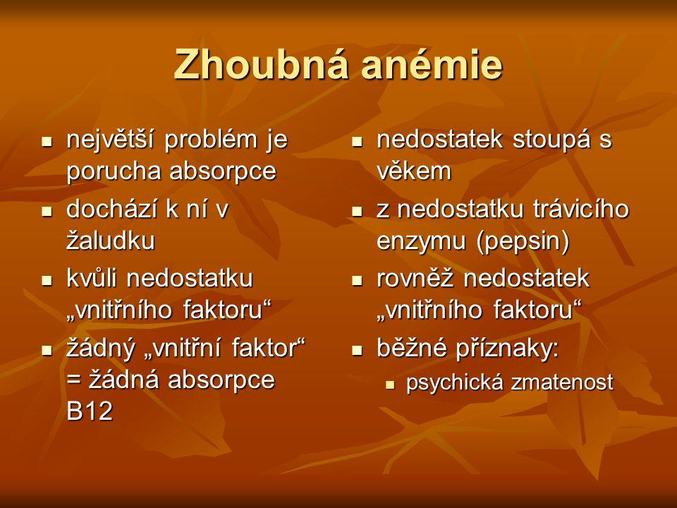 Zhoubná anémie největší problém je porucha absorpce