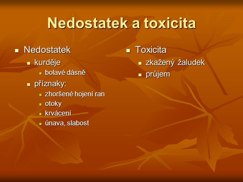 Nedostatek a toxicita Nedostatek Toxicita kurděje příznaky: