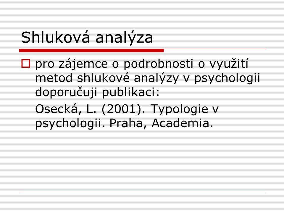 Shluková analýza pro zájemce o podrobnosti o využití metod shlukové analýzy v psychologii doporučuji publikaci: