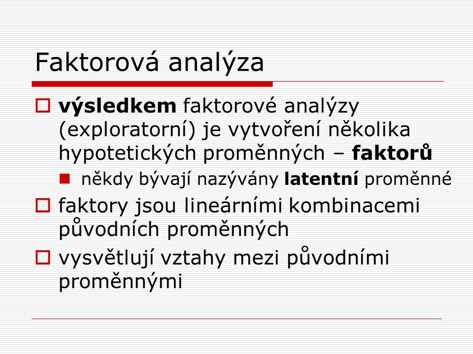 Faktorová analýza výsledkem faktorové analýzy (exploratorní) je vytvoření několika hypotetických proměnných – faktorů.
