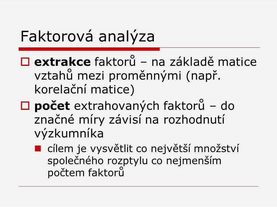 Faktorová analýza extrakce faktorů – na základě matice vztahů mezi proměnnými (např. korelační matice)