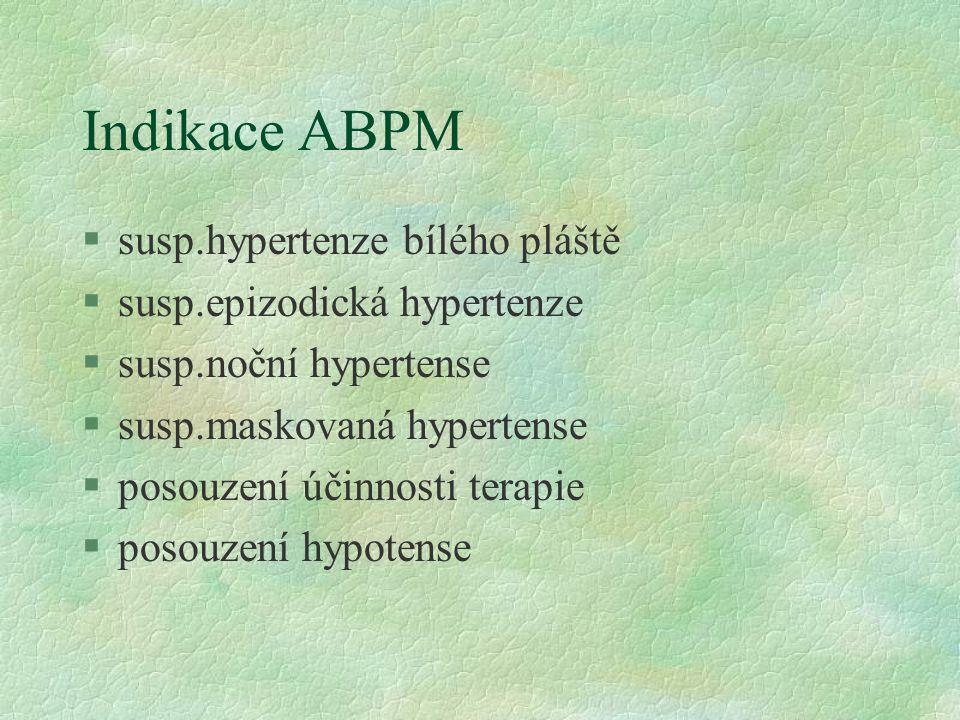 Indikace ABPM susp.hypertenze bílého pláště susp.epizodická hypertenze