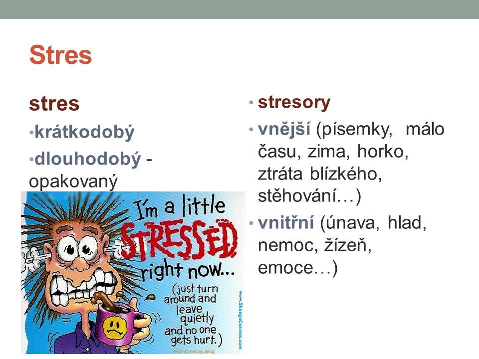 Stres stres. krátkodobý. dlouhodobý - opakovaný. stresory. vnější (písemky, málo času, zima, horko, ztráta blízkého, stěhování…)