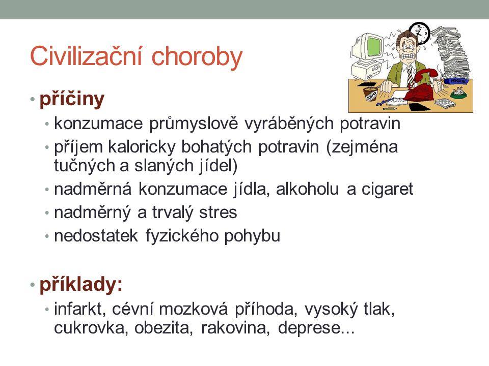 Civilizační choroby příčiny příklady: