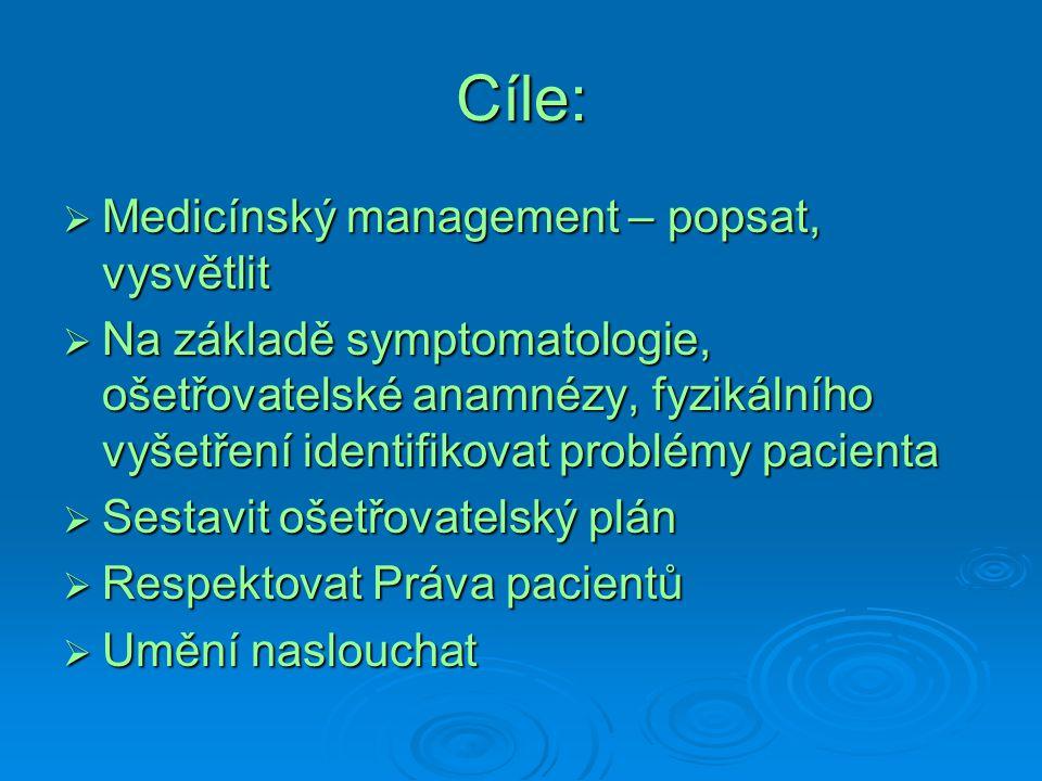 Cíle: Medicínský management – popsat, vysvětlit