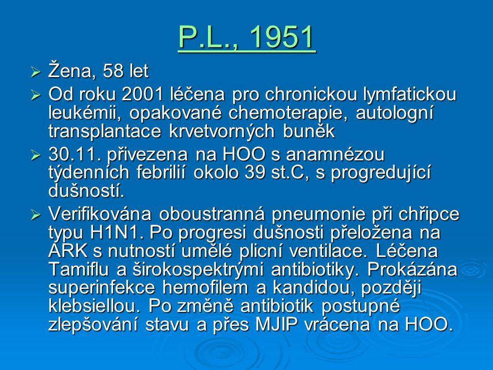 P.L., 1951 Žena, 58 let. Od roku 2001 léčena pro chronickou lymfatickou leukémii, opakované chemoterapie, autologní transplantace krvetvorných buněk.