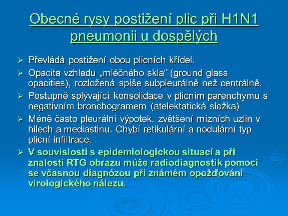 Obecné rysy postižení plic při H1N1 pneumonii u dospělých