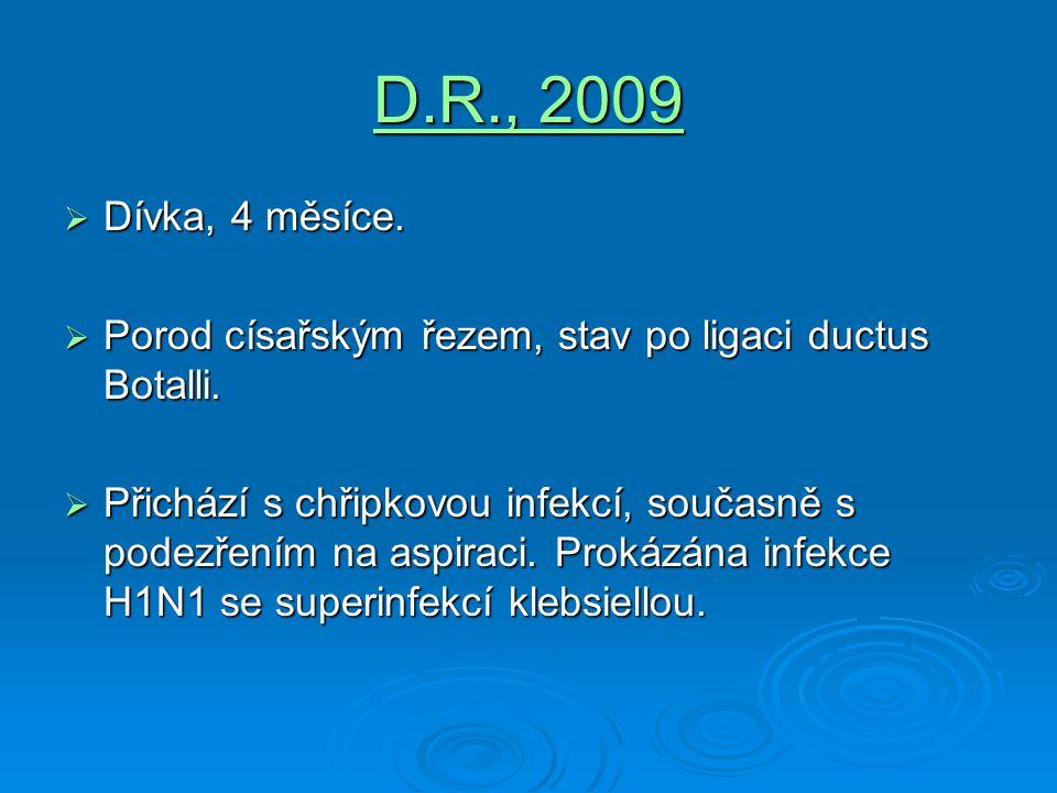 D.R., 2009 Dívka, 4 měsíce. Porod císařským řezem, stav po ligaci ductus Botalli.
