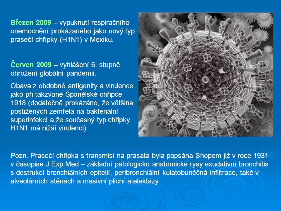 Březen 2009 – vypuknutí respiračního onemocnění prokázaného jako nový typ prasečí chřipky (H1N1) v Mexiku.