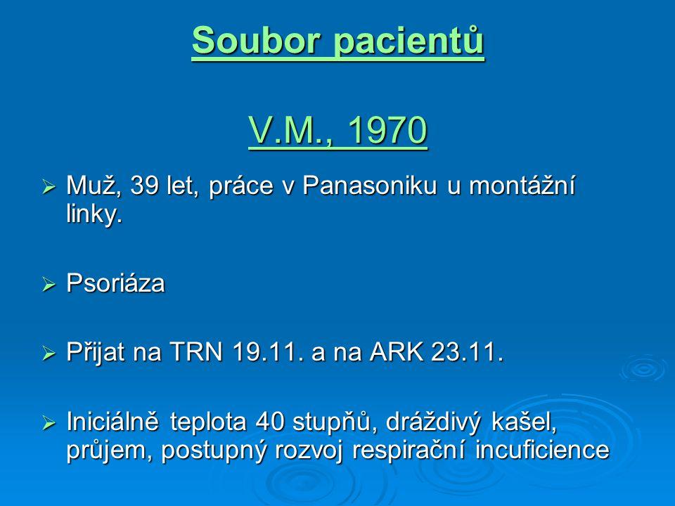 Soubor pacientů V.M., 1970 Muž, 39 let, práce v Panasoniku u montážní linky. Psoriáza. Přijat na TRN 19.11. a na ARK 23.11.