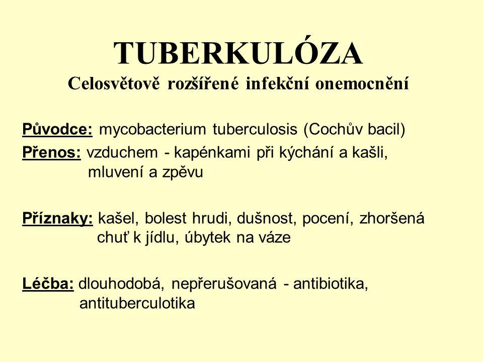 TUBERKULÓZA Celosvětově rozšířené infekční onemocnění